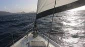 jacht : sailboat approaching a caribbean island Wideo