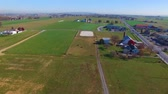lancaster : Amish Farms in Lancaster, PA USA in autumn seen by drone