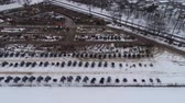 broşür : Aerial View of Getting Ready for an Amish Winter Mud Sale Stok Video