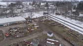 koets : Aerial View of Getting Ready for an Amish Winter Mud Sale Stockvideo