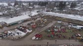 lancaster : Aerial View of Getting Ready for an Amish Winter Mud Sale Stock Footage
