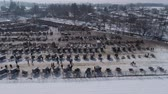 broşür : Aerial View of an Amish Winter Mud Sale in the Mud Stok Video
