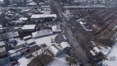 koets : Aerial View of an Amish Winter Mud Sale in the Mud Stockvideo