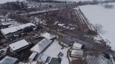 palheiro : Aerial View of an Amish Winter Mud Sale in the Mud Stock Footage