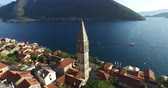 roof : Aerial view of St. Nicholas Church in Perast, Kotor Bay, Montenegro