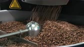 single roast : roasted coffee beans in a coffee roaster Stock Footage