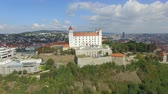 tower : Aerial view of Bratislava castle and Danube river Stock Footage