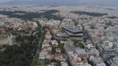 Beautiful aerial cityscape of Athens with modern museum of Acropolis