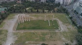 akropol : aerial view of Temple of Zeus at Olympia in Athens and modern part of the city Stok Video