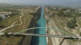 ferry crossing : Aerial view of famous Corinth Canal of Isthmus, Peloponnese.