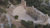 Aerial view of Odeon of Herodes Atticus and Acropolis of Athens ancient citadel in Greece