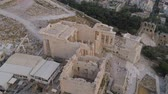 akropol : Aerial view of Propylaea Gate in Acropolis of Athens ancient citadel in Greece Stok Video