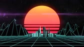 ワイヤフレーム : Retro futuristic synth grid cityscape