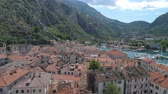 serbia : Aerial view of old town Kotor, Montenegro Stock Footage