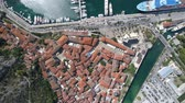 aerial survey : Aerial view of old town Kotor, Montenegro Stock Footage