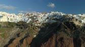 kaldera : Aerial view flying over city of Oia on Santorini Greece
