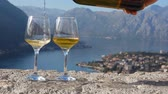 kamień : white wine is poured into a glass against the backdrop of the bay Wideo