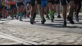 takip etmek : Running feet legs Marathon Runners Crowd Of Athletes Stok Video