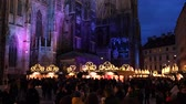 viena : Christmas decorations Shoppings Streets decorated with chandeliers in old town market in front of the St.Stephens Cathedral Vienna, Austria, Europe December 2018