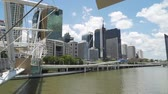 ifade : Panning shot of Brisbane skyline on a hot summer day in Australia