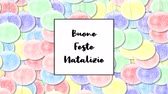cartão de natal : Buone Feste Natalizie Christmas card with Rainbow Pastel bauble as a background, zoom in Vídeos