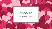 valentin : Forever together love card with Cherry Red hearts as a background, zoom in