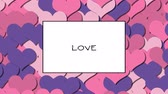 présenter : LOVE love card with Pink hearts as a background, zoom in