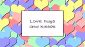 carte d amour : Love, hugs and kisses love card with Rainbow Pastel hearts as a background, zoom in Vidéos Libres De Droits