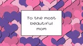 carte d amour : To the most beautiful mom love card with Pink hearts as a background, zoom in Vidéos Libres De Droits