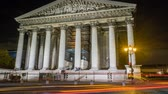 administrativo : Long exposure shot of the Madeleine church in Paris at night, zoom in Stock Footage