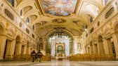 cathedral : Interior of Santa Cecilia church in Rome in Italy, zoom in Stock Footage