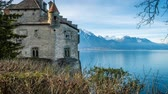 leman : Chillon castle view from the top and Geneva lake in the background, zoom in Stock Footage