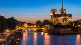 catedral : Notre Dame de Paris and Seine wharf at night in the summer, zoom in