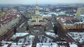 mimari : Aerial view of Ivano Frankivsk city, Ukraine. Old historical buildings of european town.