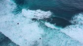 masmavi : Waves and azure water as a background. View from high rock at the ocean surface. Natural summer seascape. Water background. Indonesia - video Stok Video