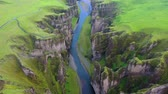 Iceland. Aerial view on the canyon and river. Landscape in the Iceland at the day time. Landscape from air. Travel - video Archivo de Video