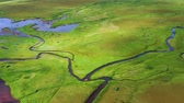 Iceland. Aerial view on the field and river. Landscape in the Iceland at the day time. Landscape from drone. Travel - image