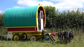 gipsy : Colorful Traditional Romany Caravans parked at side of the road,