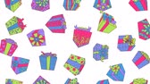 boldog karácsonyt : Colorful gift boxes falling with white background, 2d animation. Merry Christmas and Happy New Year