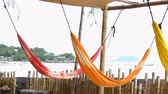 függőágy : Colorful hammock with bamboo fence and sea view in Phangan island, Thailand