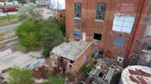 sklep : Close drone pan of abandoned factory