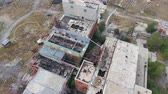 sen : Drone overhead shot of abandoned factory