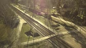 infra estrutura : Aerial Top down Picturesque view on Jurmala city, railway station. Drone 4k