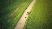 pas getrouwd : Top View From Drone On The Car On Countryside Road.