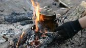 tencere : Cooking food on the campfire in the summer forest Stok Video