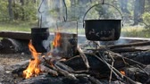 야영의 모닥불 : Camping fire in the evening with a pot heated on it, hd stock footage 무비클립