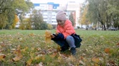 a small, pretty, five years old girl walks in the autumn park, collects colorful fallen leaves Stok Video