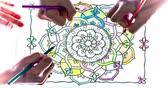 malarstwo : Coloring Book. Three hands drawing colors to a coloring book.