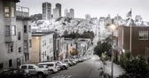 russo : San Francisco from Dusk to Night. Vintage Look. Filmed at Telegraph Hill looking towards Russian Hill. Stock Footage