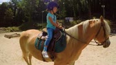 конный : Child learning to ride horse FDV